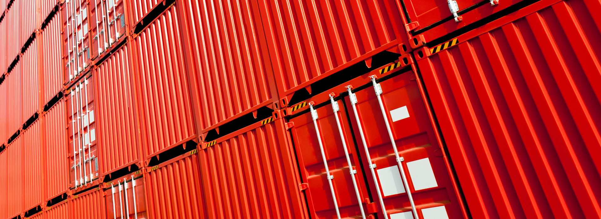 Red shipping containers